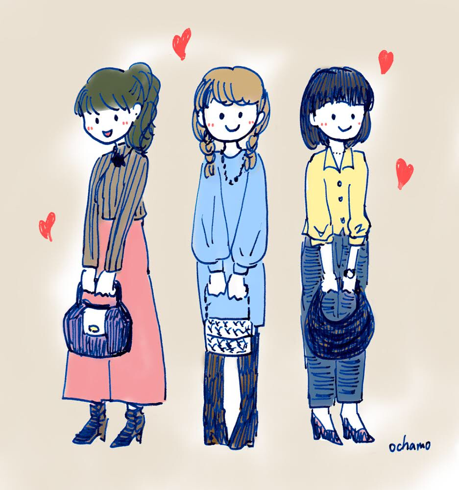 春ファッションコーデイラストおちゃもnote