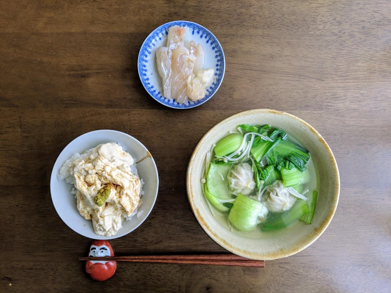 ・ヒラメの昆布締め ・湯葉丼 ・小籠包とチンゲン菜、えのきのスープ