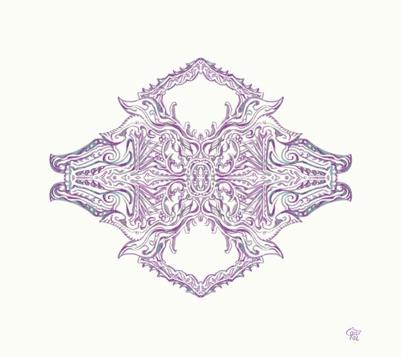 対称定規ツールでエンブレムを描く