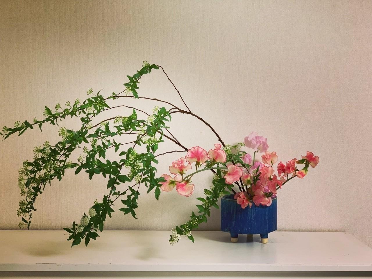 器と床面を意識して  華道では器を作品の出発点として意識して生けるが、その意識を器だけでなく床面全体に広げることも大切。  器の置いてある床面全体もまた「花器」だと意識して、床全体から湧き上がってくるような構成を考える。  #華道 #いけばな #生け花 #草月 #草月流 #花 #植物 #アート #デザイン #いけばな男子#花のある暮らし