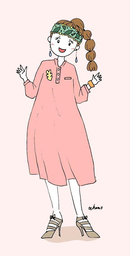 春ワンピースファッションイラストおちゃもnote