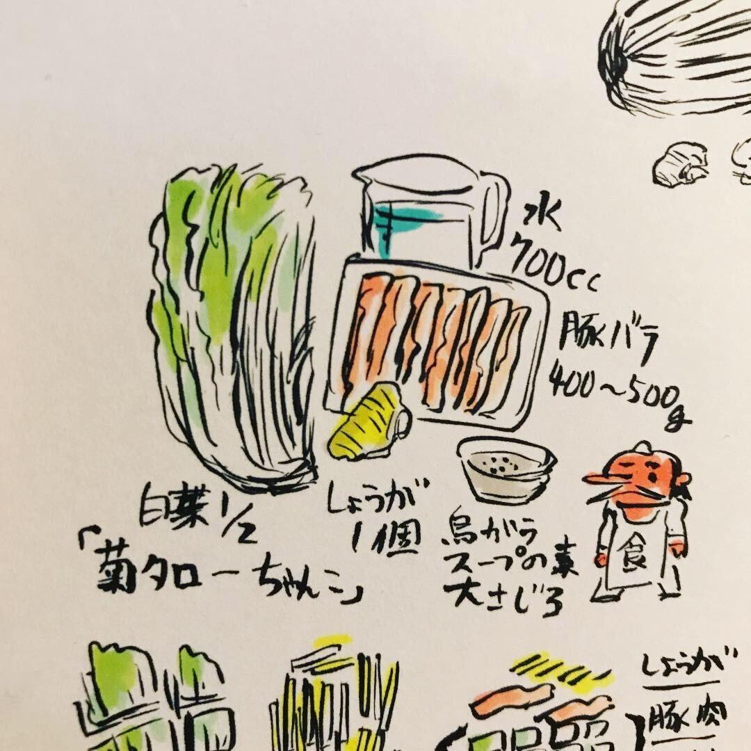 簡単でおいしい! 「菊タローちゃんこ」の作り方 白菜1/2ザク切り  しょうが1個細切り 豚バラ400g  鶏がらスープ大3  水700cc 順番に入れてしっかり煮るだけ。 麺を入れるのもいいです。分量はお好みで。 #菊タローちゃんこ #てんぐアート  #鍋料理 