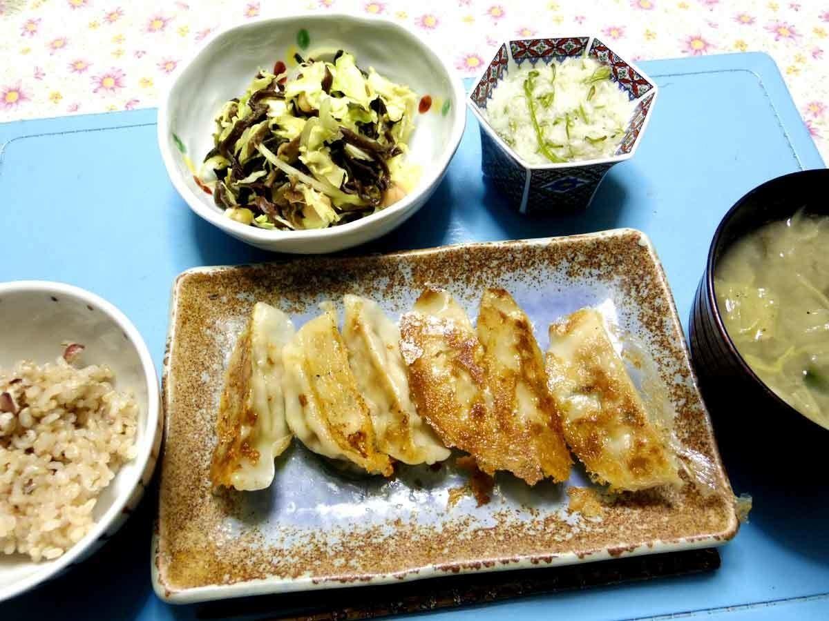 今夜は羽根つき焼き餃子、きくらげひよこ豆キャベツ玉葱のワカメ温サラダ、もずく大根おろし、白菜ほうれん草とかのお味噌汁、ご飯です。
