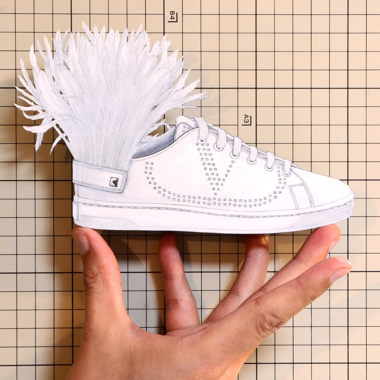 """Shoes:01266 """"VALENTINO"""" Low-Top Sneaker with Go Logo Detail and Feathers(SS2019)"""