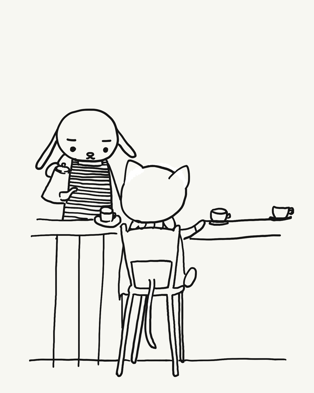 #今日は何の日 #喫茶店の日   #漫画 #1コマ #キャラクターイラスト #犬イラスト #猫イラスト #cafe #カフェ #喫茶店