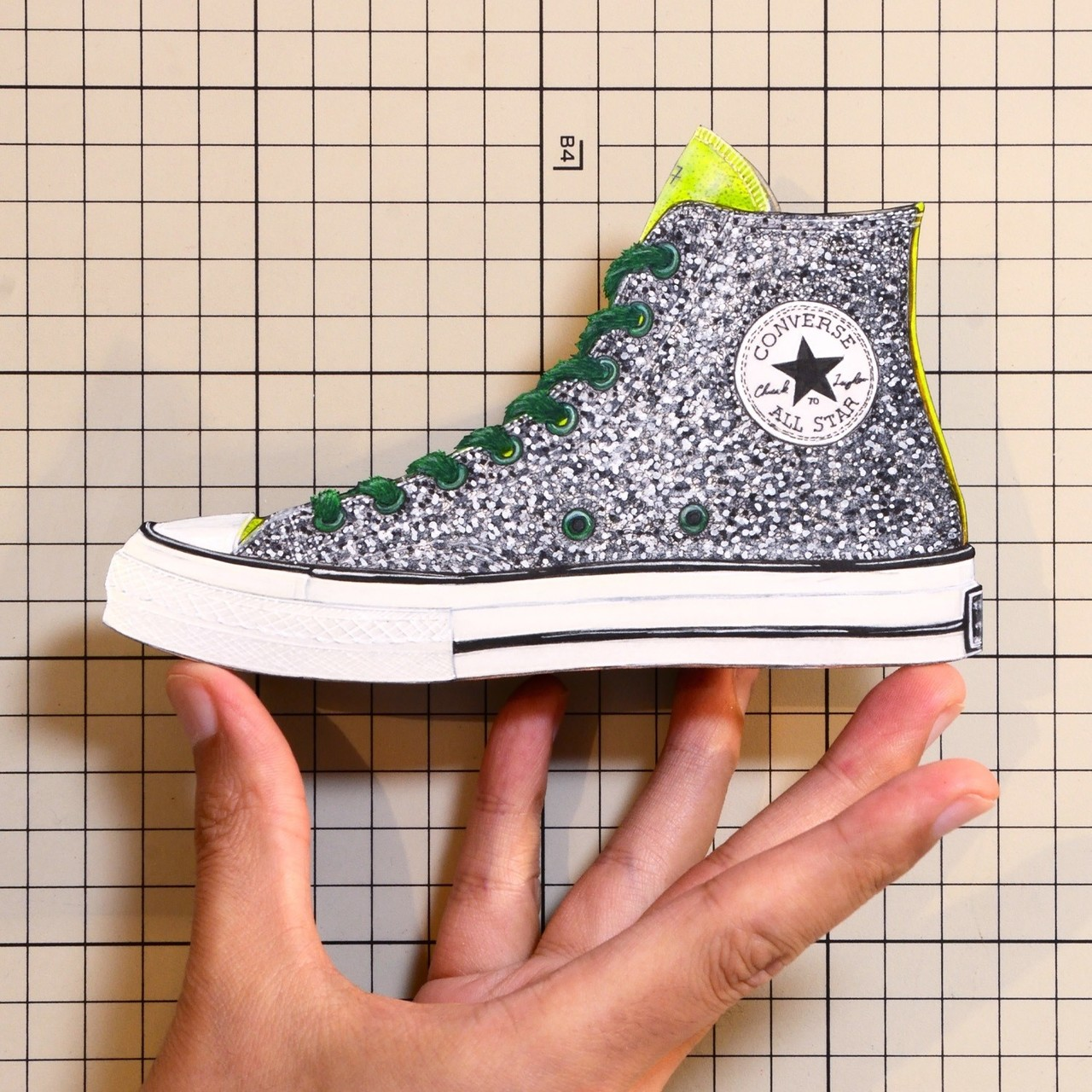 """Shoes:01317 """"JW ANDERSON"""" """"JW ANDERSON"""" Gold & Silver Glitter Chuck Taylor CONVERSE"""