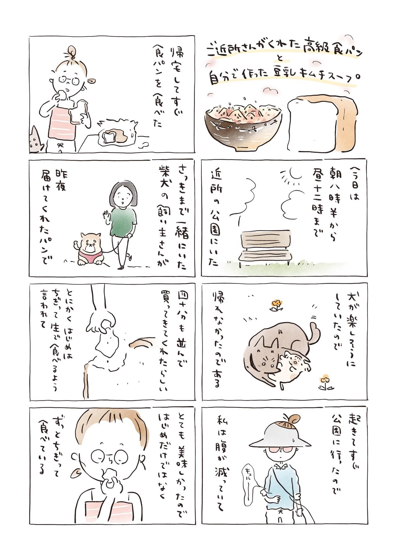 ご近所さんがくれた高級食パンと自分で作った豆乳キムチスープ−1