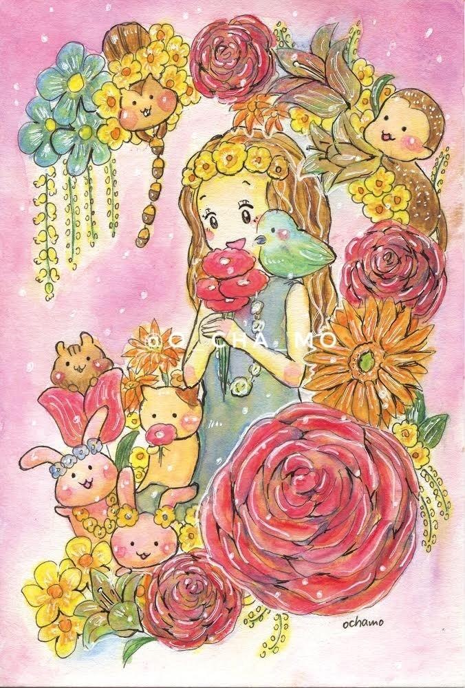 華やかなお花と女の子と動物たちの水彩イラストおちゃもnote