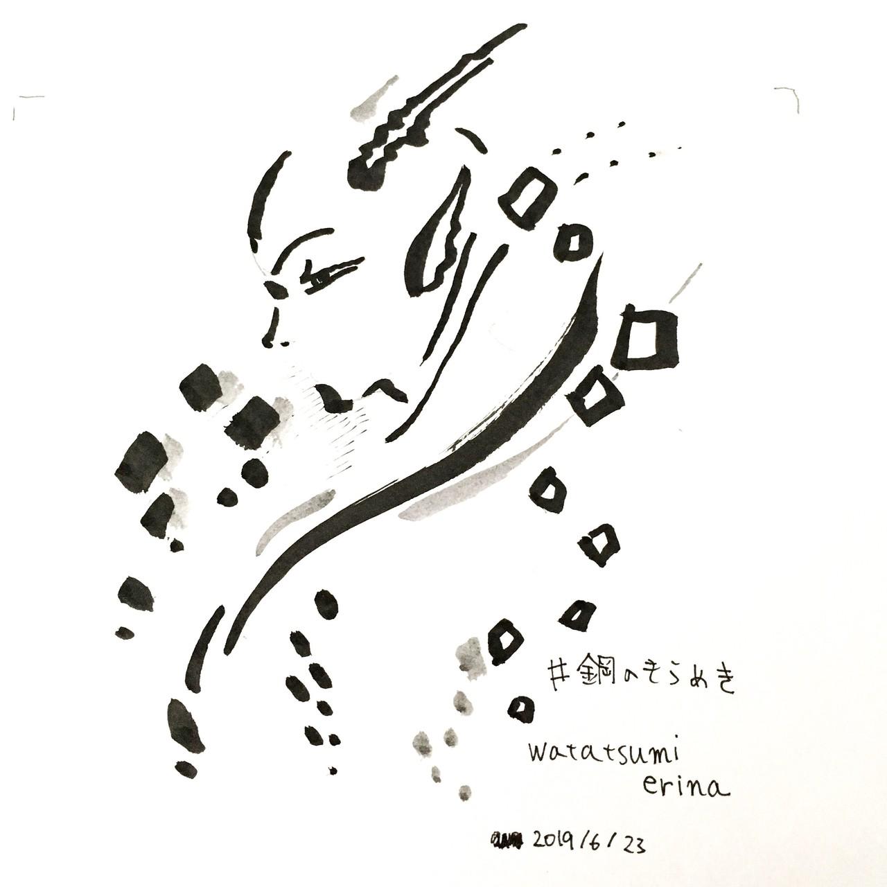 今日のドローイング。刀剣乱舞の近侍曲集を聴きながら、日本刀を見ている時のあのキラキラした金属の輝きに吸い込まれるような気持ちを思い出しながら描きました。好きすぎるものは描くのが難しい。