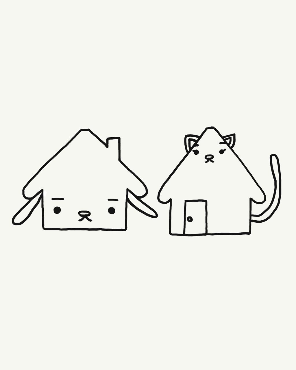 #今日は何の日 #住宅デー   #漫画 #1コマ漫画 #キャラクターイラスト #犬イラスト #猫イラスト #住宅 #housing 
