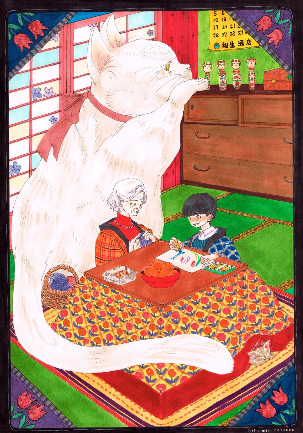 手芸好きで、古いものを大事に使う猫好きのおばあちゃん というイメージなのですが、どうでしょう… 昭和感を求めるうちに花札っぽくなりましたが、元はセルロイド製の手芸道具箱をイメージしていました() 若い頃はモガだった的なおばあちゃんにしたかったので、習作よりも髪を短くし、おじいちゃんから貰った真珠のネックレスをよく着けているという設定にしてみました。