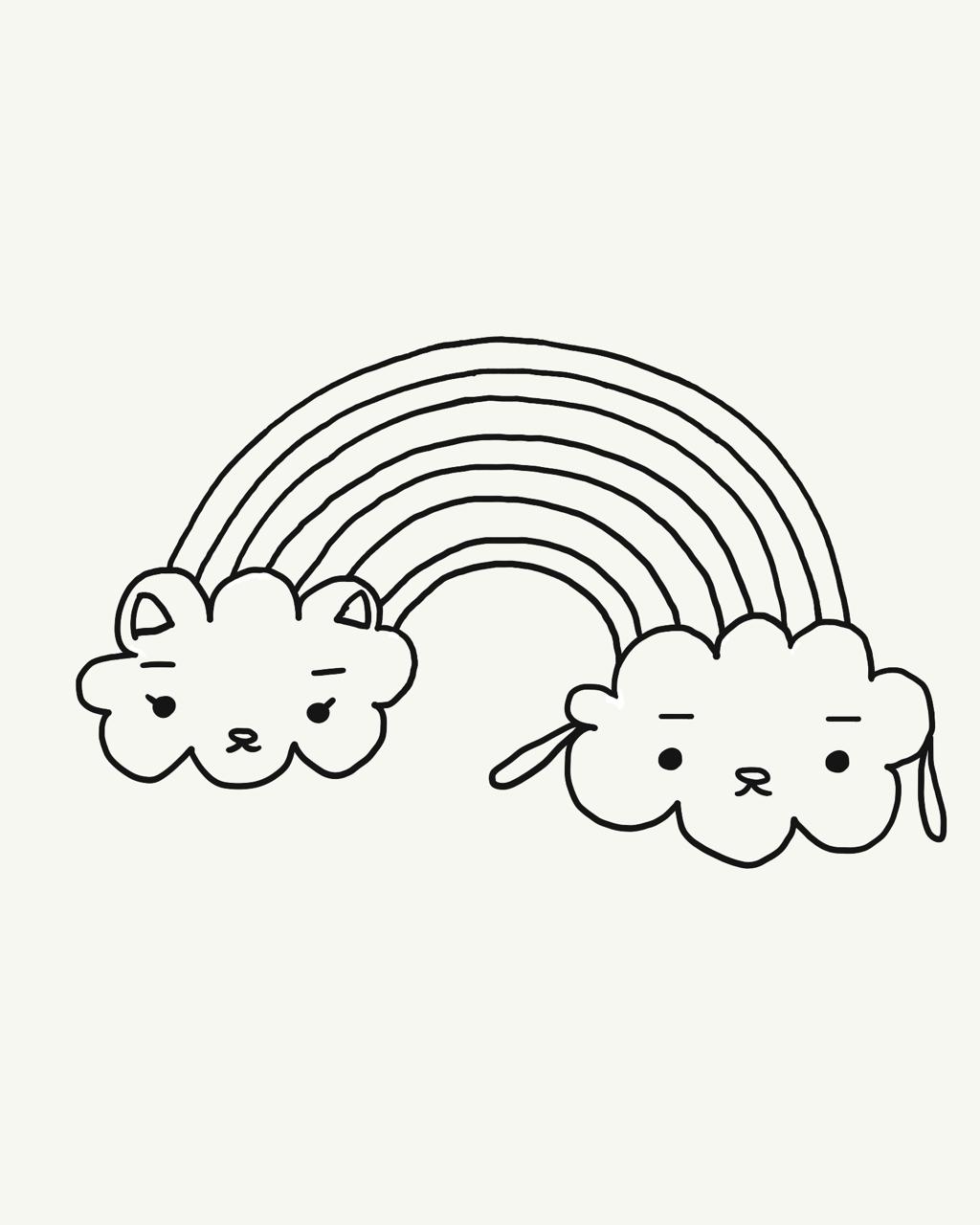 #今日は何の日 #虹の日   #漫画 #1コマ #キャラクターイラスト #犬イラスト #猫イラスト #虹 #rainbow 