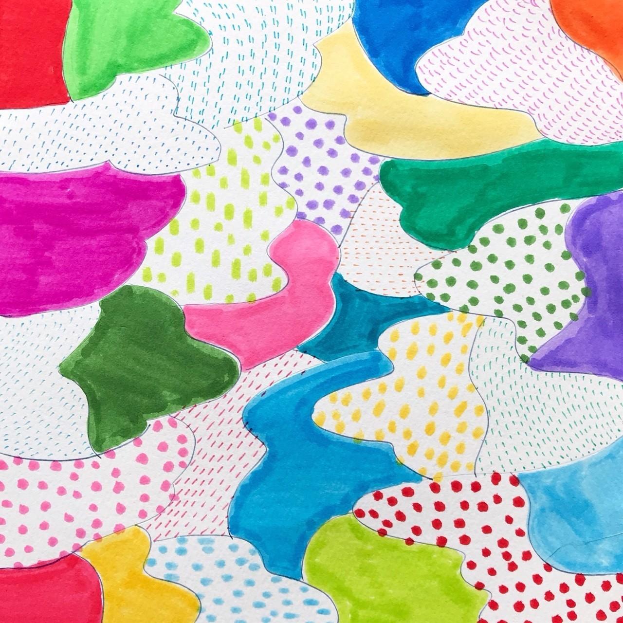 #115_Patterned sea14_182x182mm<Drawing>  おはようございます! カラフルベースでは、春日舞子が表現するアートの世界を毎日更新でお届けしています。どうぞお楽しみに! BASEのページでは購入もしていただけます。colorfulbase.thebase.in #アート #ドローイング #イラスト #絵 #カラフル #原画販売 #グッズ販売