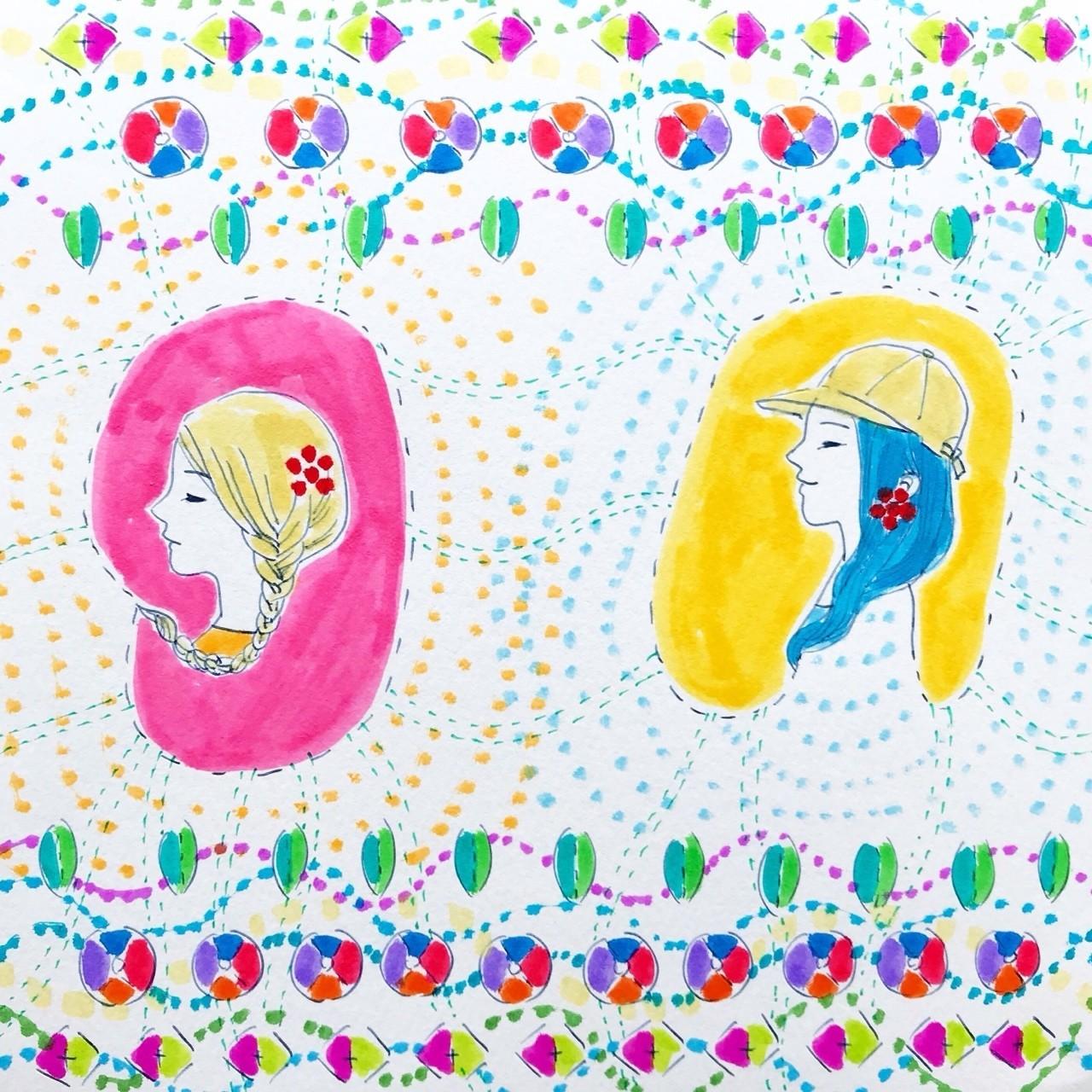 自分がなっていきたいように、自由に変化し続けましょう。今日もよい一日を! #119_Colorful girls4_182x182mm<Drawing>  カラフルベースでは、春日舞子が表現するアートの世界を毎日更新でお届けしています。どうぞお楽しみに。 BASEでは購入もしていただけます。colorfulbase.thebase.in #アート #ドローイング #イラスト #絵 #カラフル #原画販売 #グッズ販売