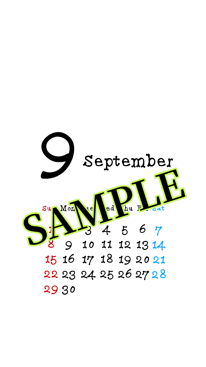 スマホ壁紙です 2019年9月のシンプルカレンダー壁紙 3種類 ホワイト