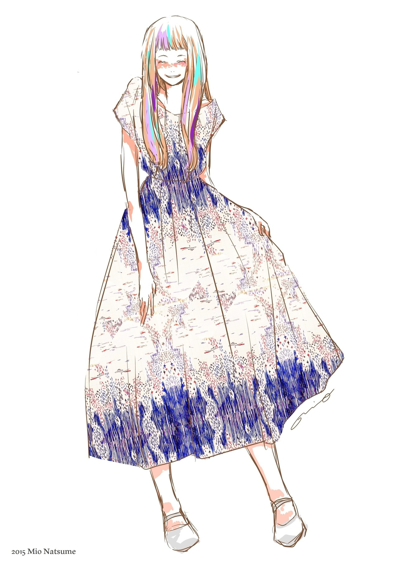 3/26に投稿したNo.234の女の子( https://note.mu/misosjp/n/n04b5e5116785 )に、実験的に作ったパターンを合わせてみました。いつか自作テキスタイルで服を作るとしたら、こんな感じにしたいな。