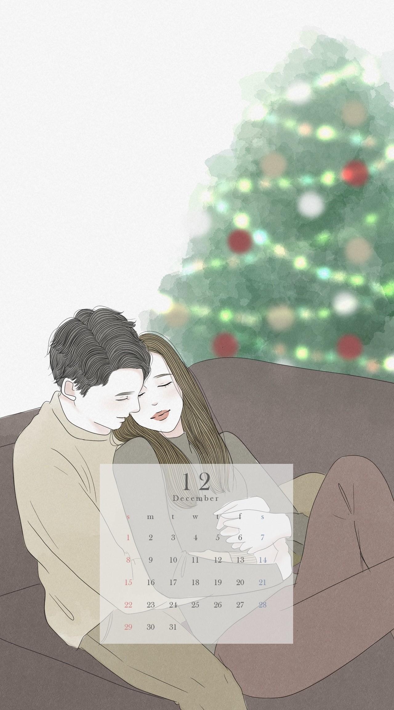 19年12月 スマホ壁紙カレンダー 蒼井アオ イラストレーター 漫画家 Note
