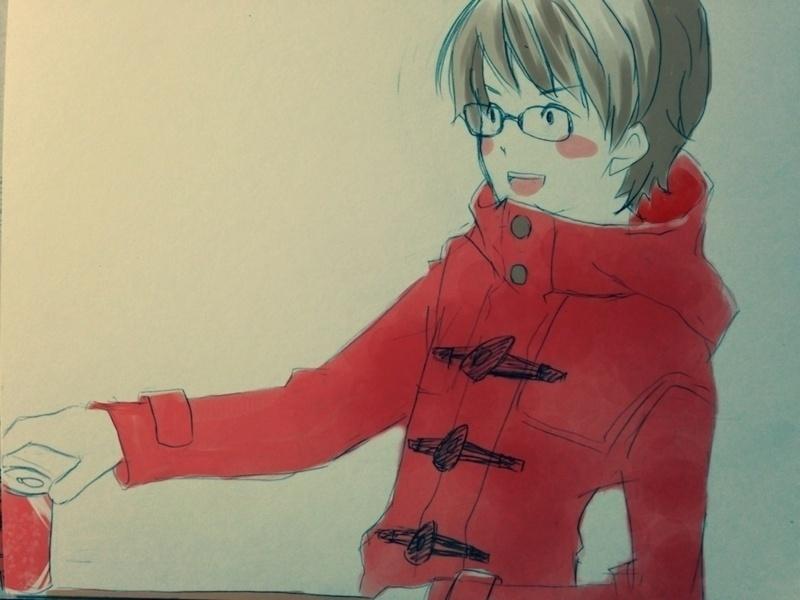 赤いダッフルとメガネ男子