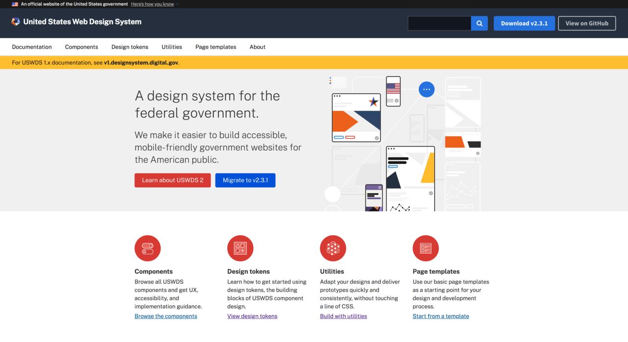 United States Web Design Systemサイトのスクリーンショット