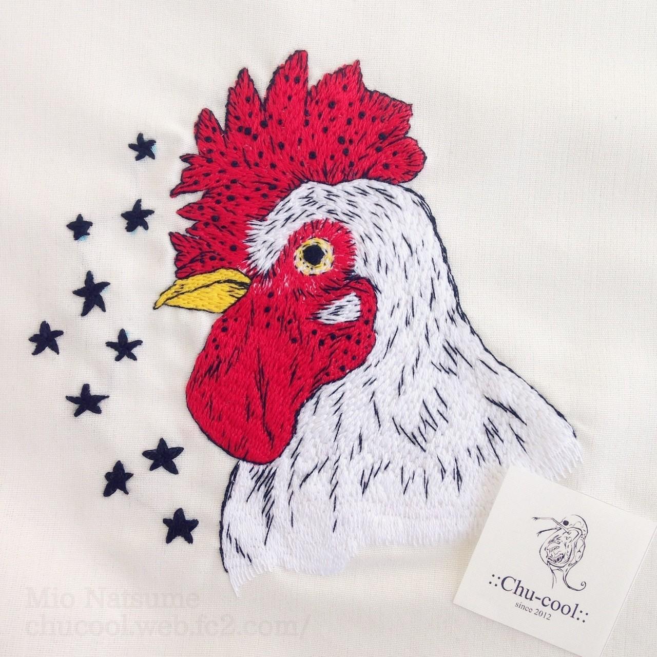 ボールペンドローイングのニワトリを刺繍にしてみましたー