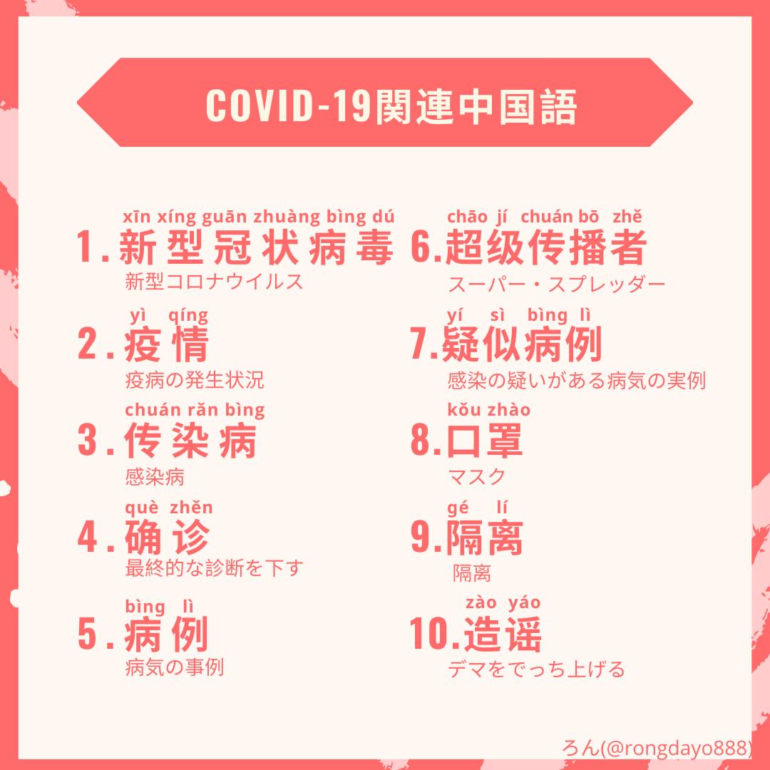 新型コロナウイルス(COVID-19)の中国語関連単語10選【発音・拼音 ...