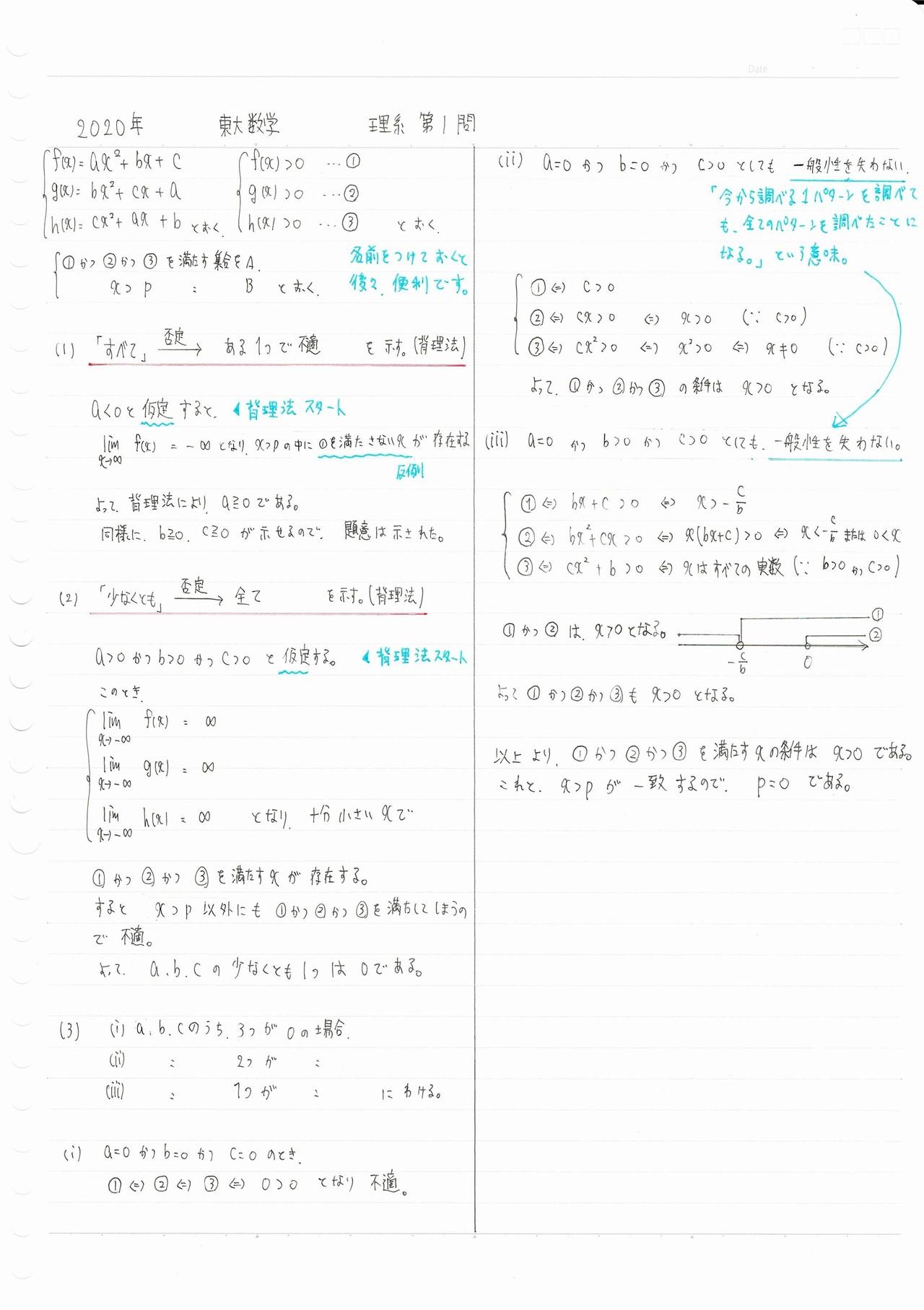 2020数学 理1 解説