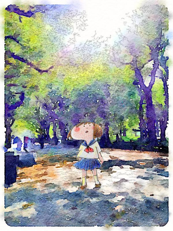 waterlogueという写真を水彩画風にできるアプリを手に入れたので(やばいすごい最高)、自分の絵と合成してみました。虎の威を堂々と借る!!
