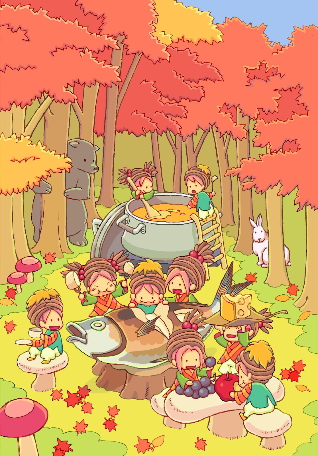 森のこびとの食事会。匂いにつられて動物たちも顔を出します。