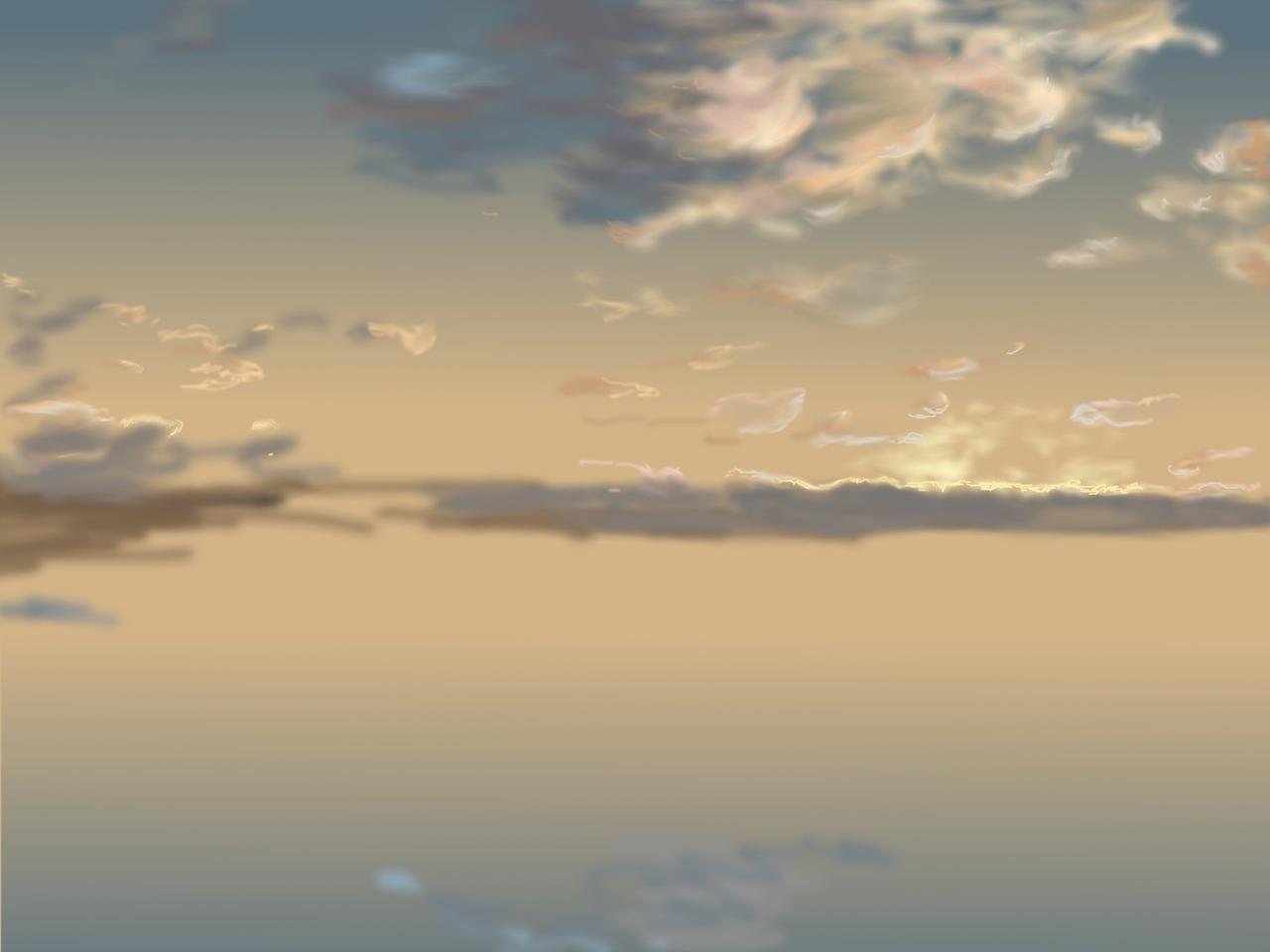メイキングスタート↓ 1:グラデーション背景に、それっぽい色をそれっぽく置いて