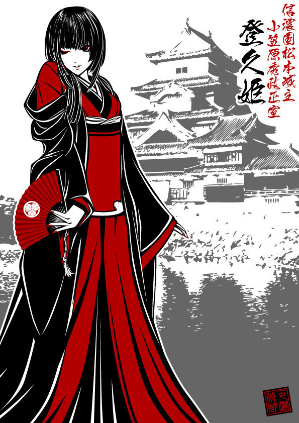 一番最初にデザインして描いた登久姫様のイラスト。髪型は松本城と同様に前髪から5重の段々を入れてあります。