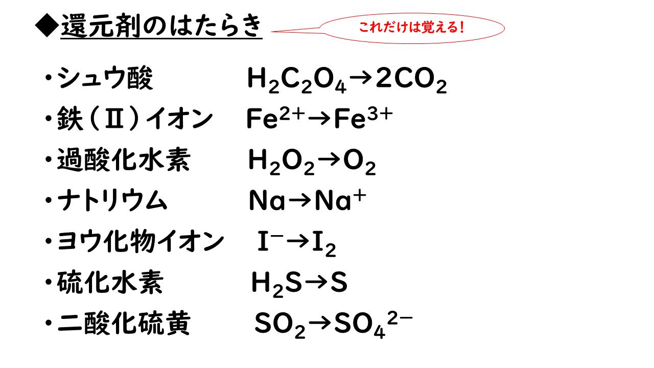 剤 剤 酸化 方 還元 見分け