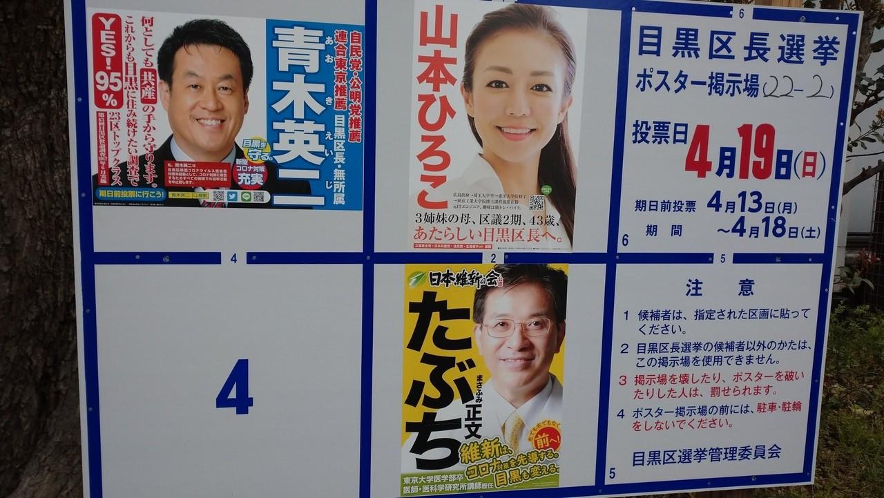 目黒 区長 選挙 2020