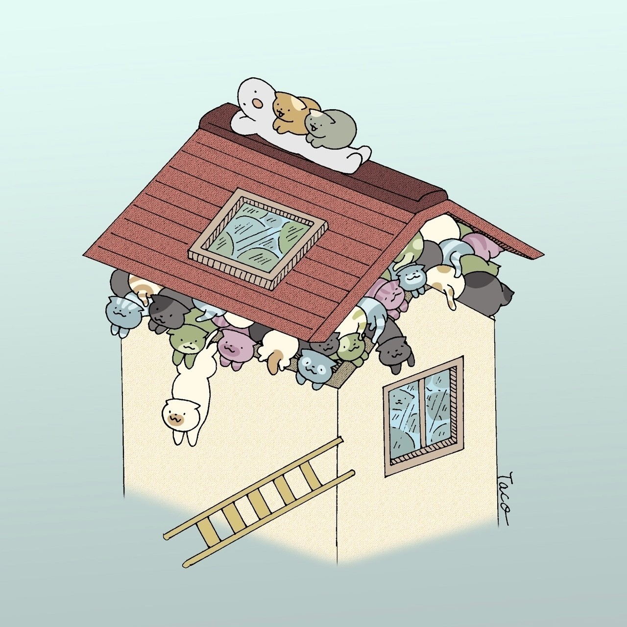 「あふれでる幸せ」 #illustration #絵本 #イラスト #cat #猫 #マンガ