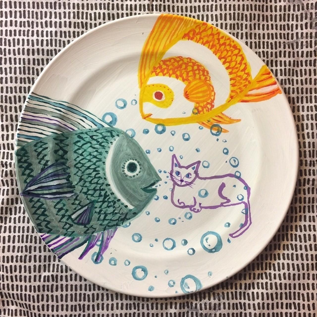 #art#illustration#猫#魚#絵皿#🐱#🐠