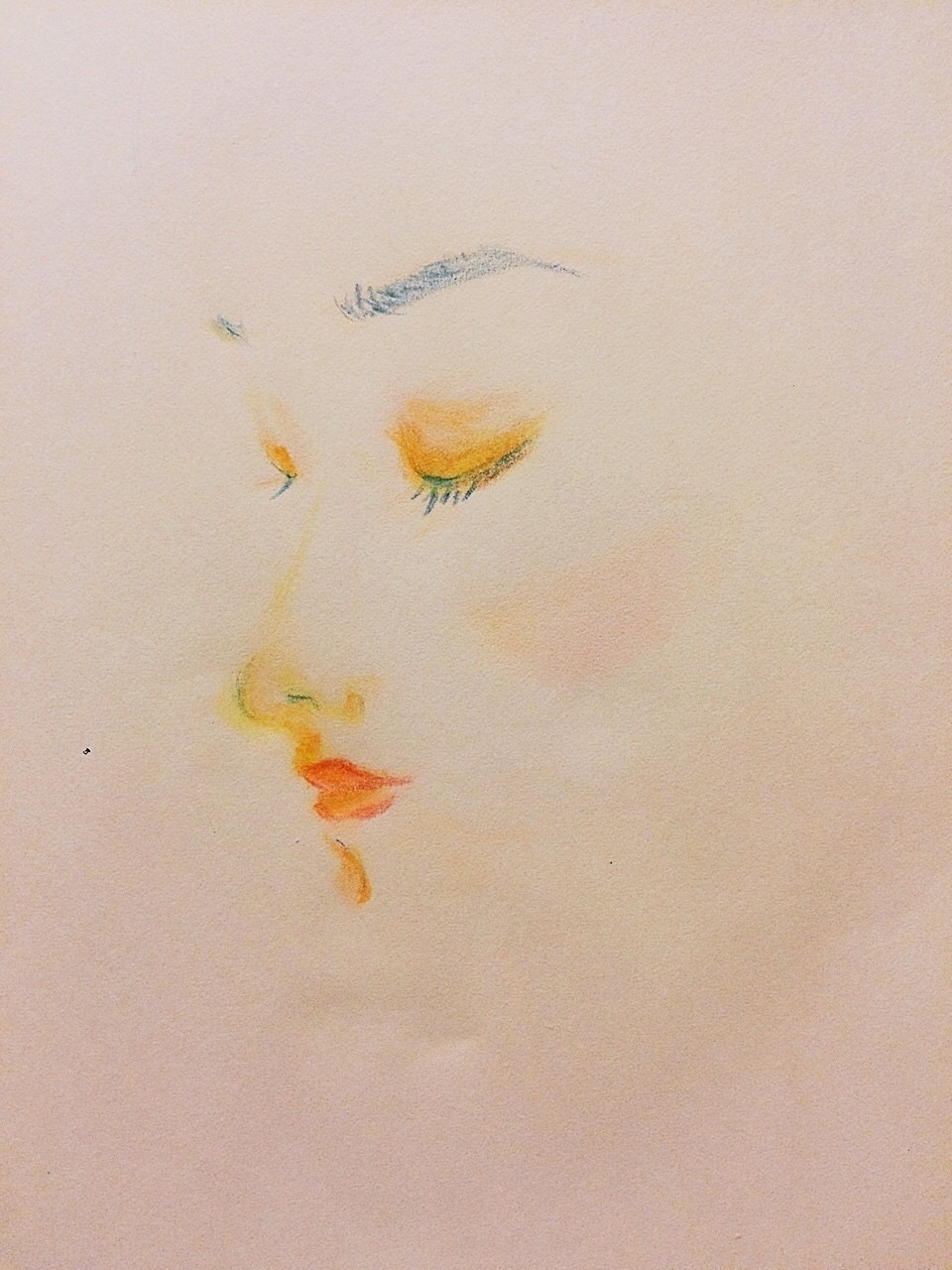 #illustration#art#portrait#sketch#girl#makeup#cosmetics#rouge#イラスト#メイク#コスメ#横顔