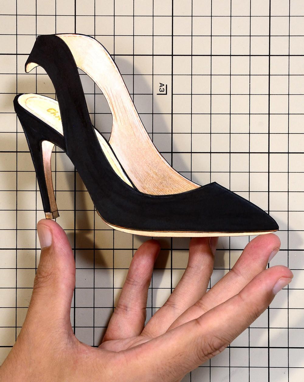 "Shoes:00756 ""Christian Dior"" Black Suede Calfskin Sling-back(FW2017)"