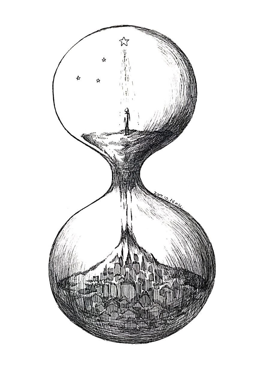 夜が落ちてくる。  #inktober 14日目。また何となく頭に浮かんだものを描きました。時間がもったいないと感じる時、砂時計の中にいる様な気持ちになります。1日は長くて短い。  #inktober2017 #inktoberday14  #doodle #ボールペン画 #ボールペンイラスト #イラスト #original #art #砂時計 #オリジナル #創作 