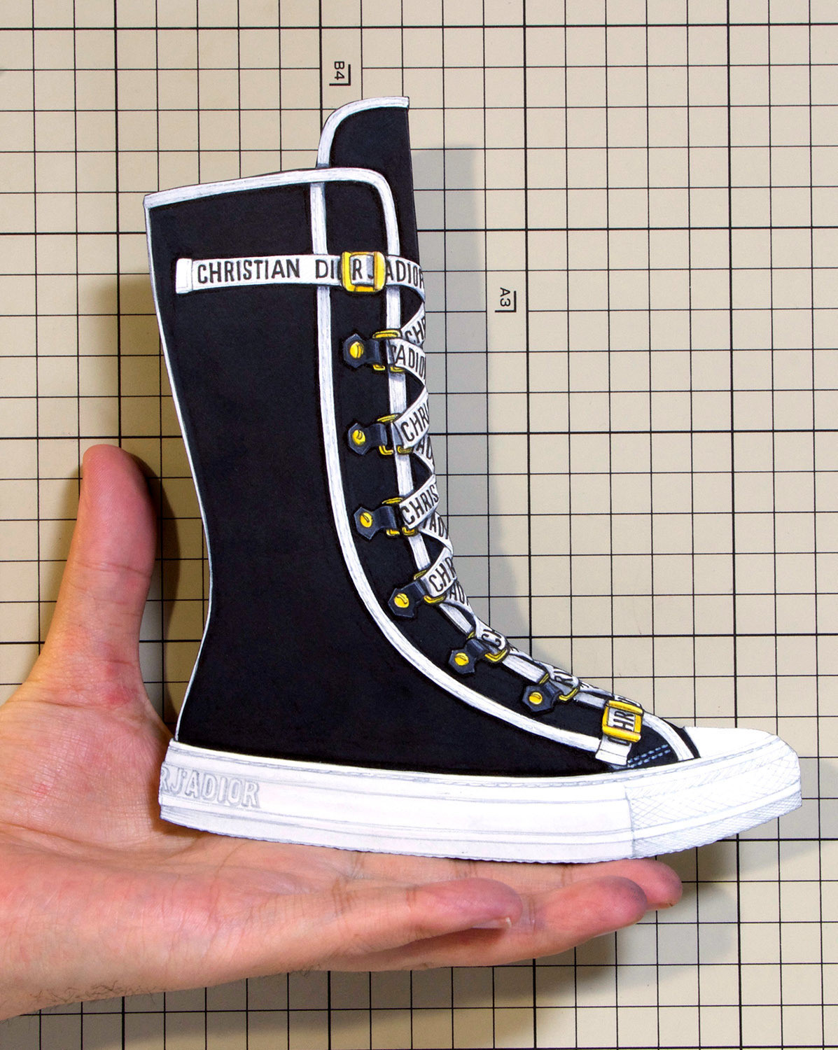 """Shoes:00864 """"Christian Dior"""" High-Top Trainer in Black Canvas Sneaker(Cruise 2018)"""