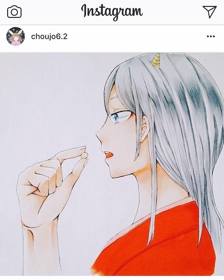 #節分 #小6 #長女 #イラスト #コピック #鬼  小6の長女が描きました(^ω^)