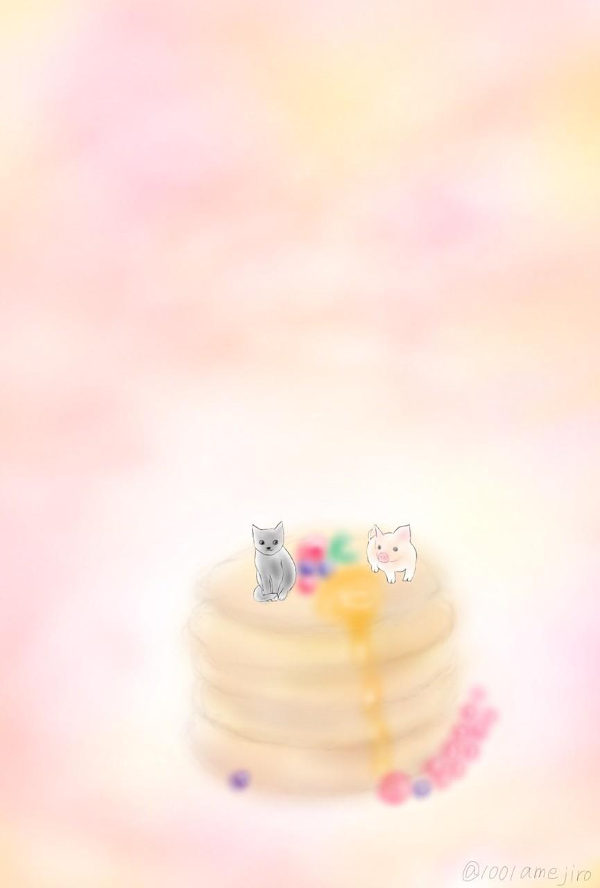 パンケーキを狙う2匹。