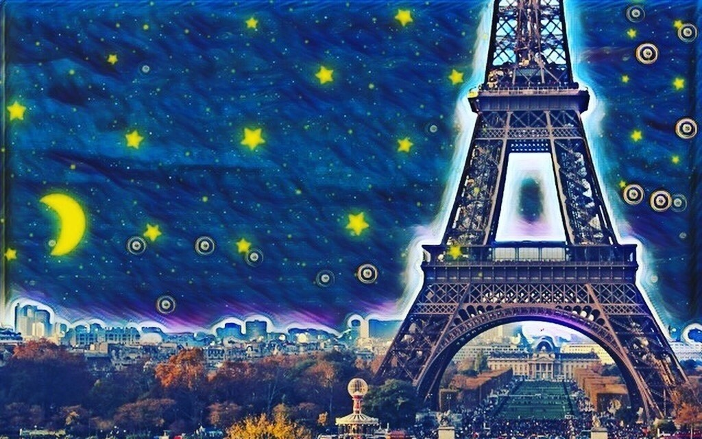 Starry night in French.   星降るエッフェル塔。