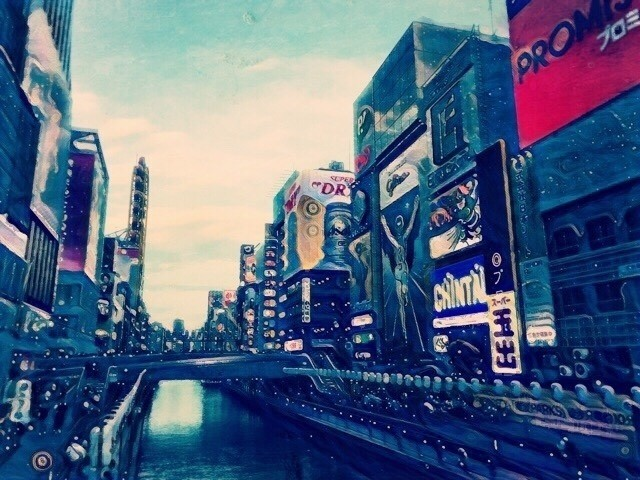 This is where I live.   難波にて。