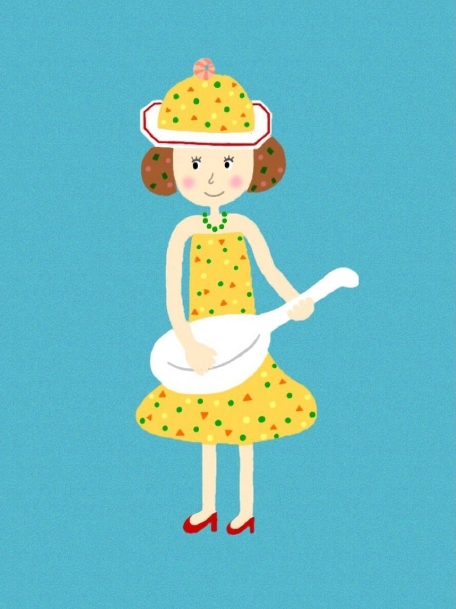 チャーハン パラ美 ちゃんです。  チャーハンの帽子とドレス グリーンピースのネックレス を身につけて、レンゲをギター代わりに歌を歌います。  髪の毛は 焦がし醤油チャーハン です。  #チャーハン #チャーハン大賞 #イラスト #絵 #女の子 #味の素