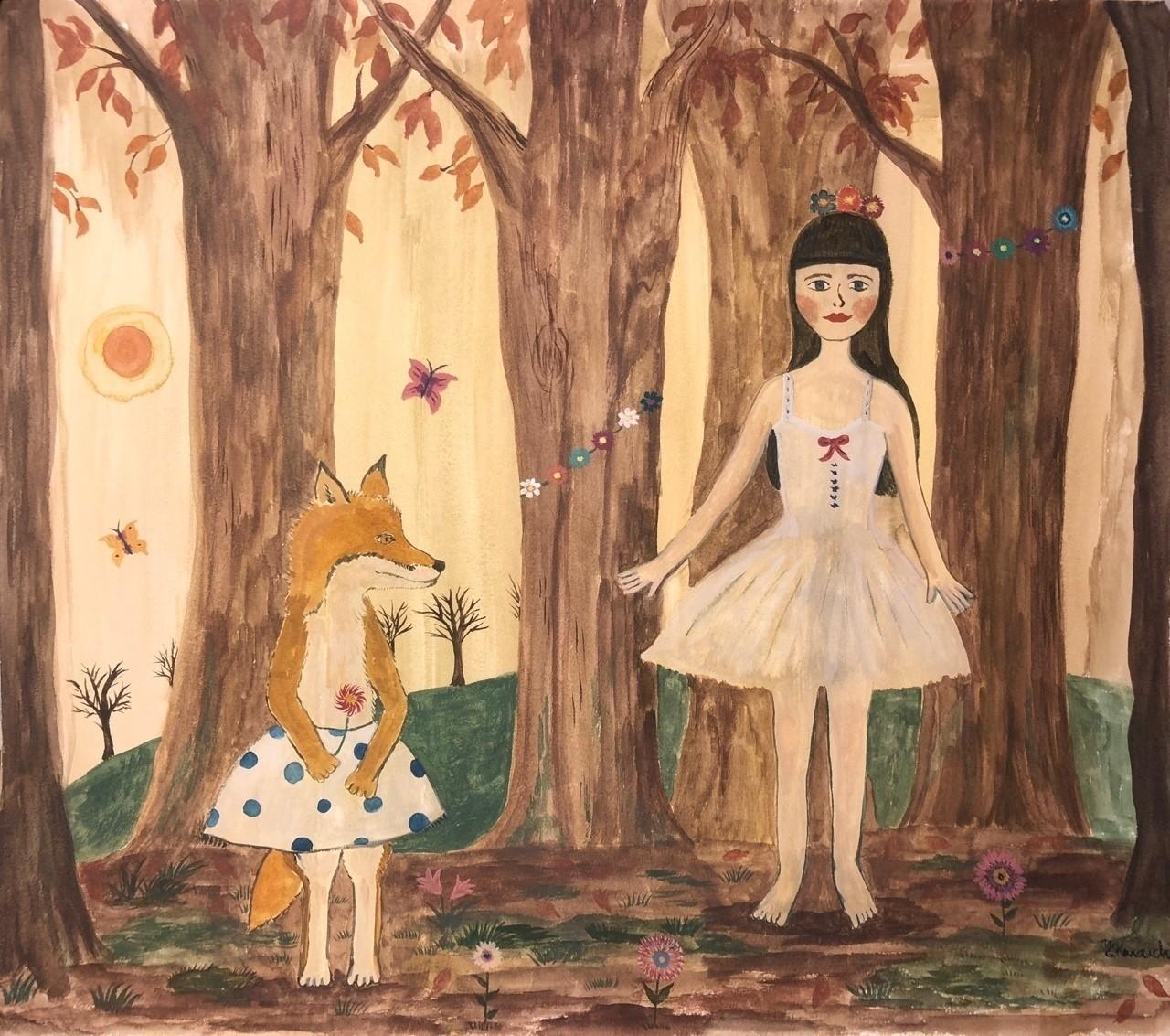 林の中のバレリーナ。お花が咲く林。蝶々舞う。木々に囲まれて、お花に囲まれて、裸足のままで、踊ってみよう、踊ってごらん、自由に。自由に。  #絵 #水彩 #水彩画 #ドローイング #お絵描き #美術 #イラスト #イラストレーション #詩 #ことば #言葉 #ペインティング #drawing #painting #自然 #画家