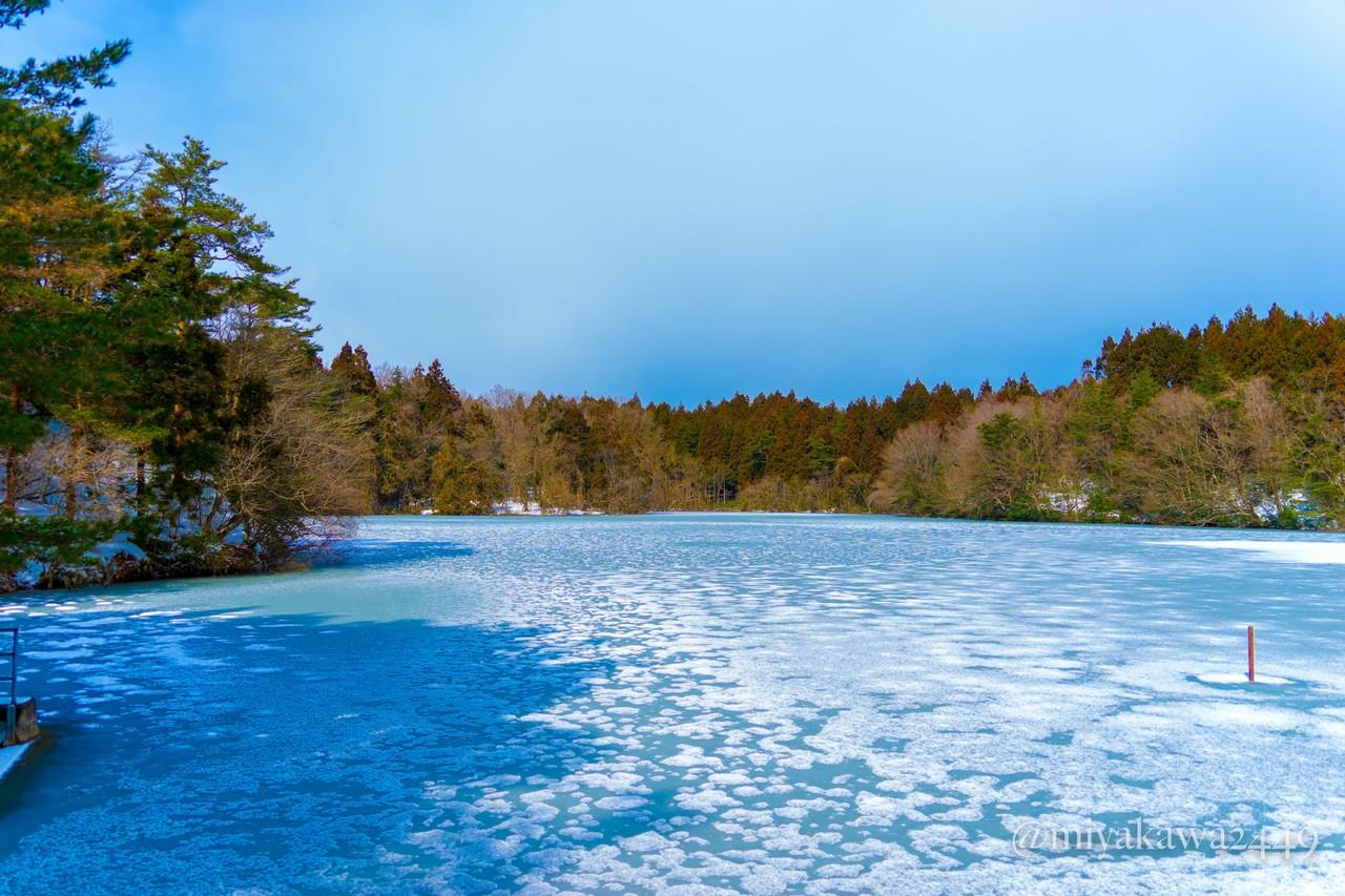 雁の池 凍ってて雁の無理はよそに移動したらしい。1月上旬に鳥がたくさんいた写真を3年前に撮った経験があります。  37.472418, 137.331589