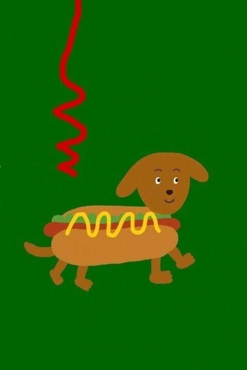 ホット犬(ドッグ)くん です。 ケチャップをかけられている最中にも関わらず歩き回ります。  #イラスト #絵 #犬 #ホットドッグ