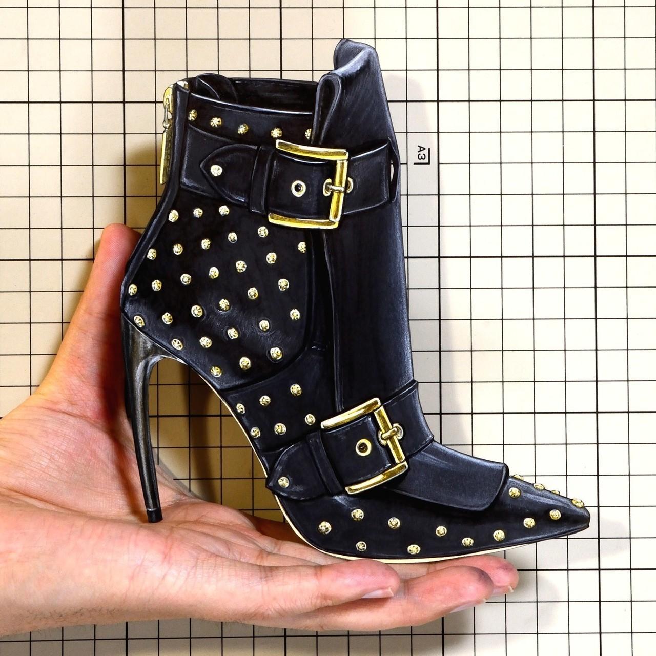 """Shoes: 00906 """"Alexander McQueen"""" Double Buckle Horn Heel Boot(SS2018)"""