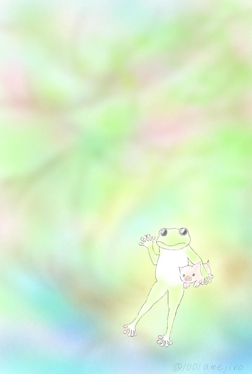 カエル主任、小脇に子豚♪  #イラスト
