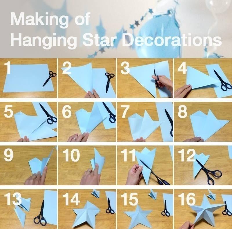 すべての折り紙 箱の折り方 折り紙 : Making of Hanging Star Decorations ...