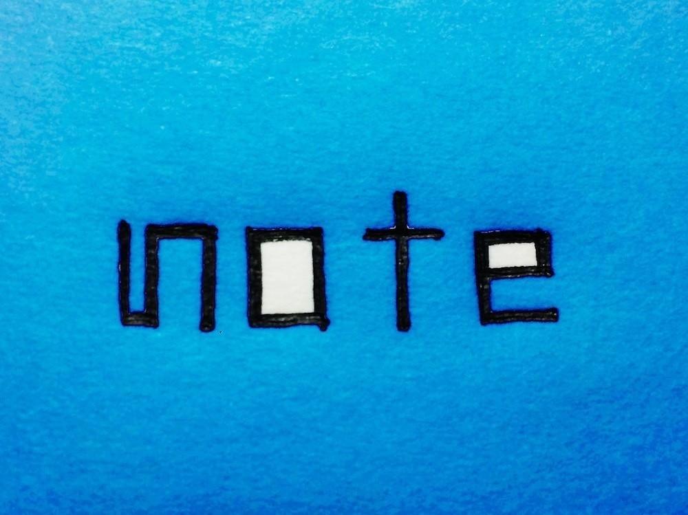 青色のnoteロゴ。カラフルねんど風。記事タイトル画像など、ご自由にお使いください。